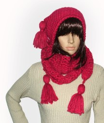 Cherry Red beanie scarf set