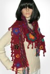 Red Floral crochet scarf