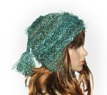 Earflap Beanie with ponytail Tassel