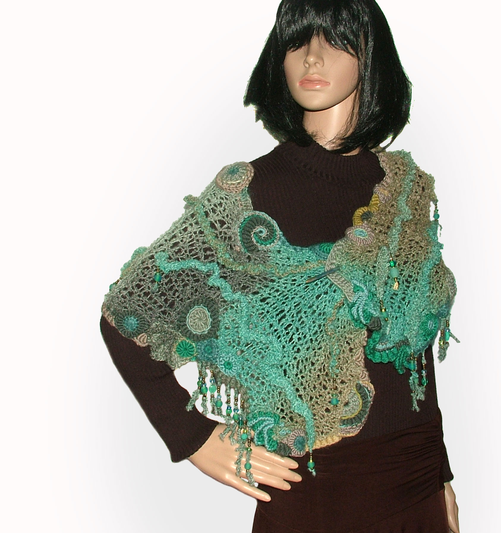 Freestyle Knit Freeform Crochet Scarf Shawl Wrap Renate