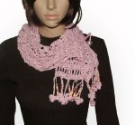 Pink freestyle crochet scarf