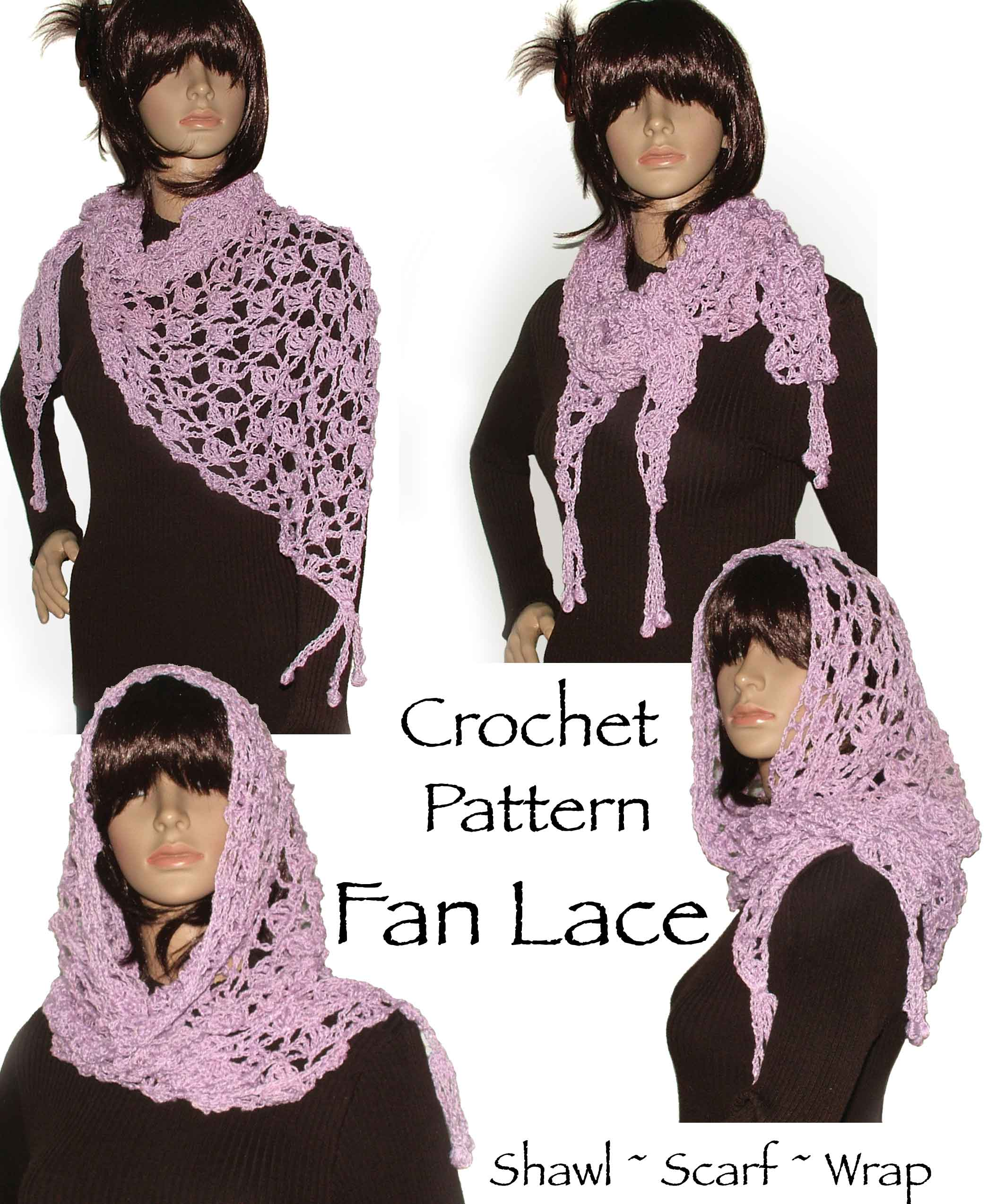 Crochet Fan Lace Shawl Wrap Scarf Pattern Renate Kirkpatricks