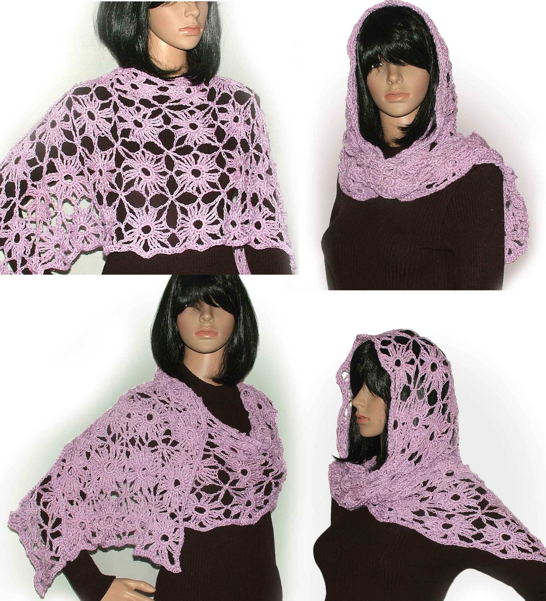 Crochet Lace motif PDF pattern for scarves, shawls, wraps, vests ...