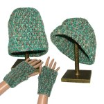 Turquoise beanie glove set