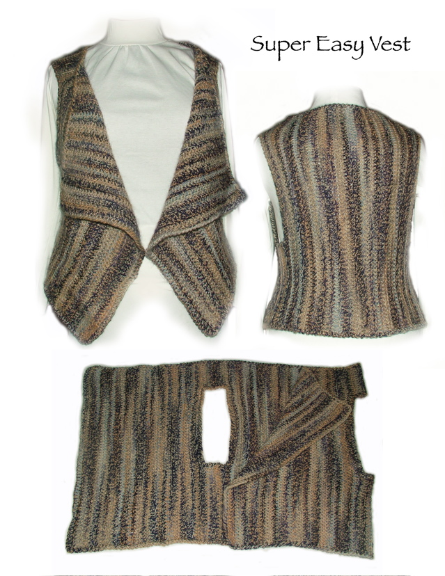Simple Knitting Vest Patterns Sweater Grey