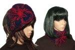 Blue Red Poppy Headband Cowl