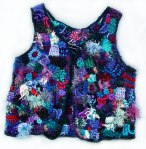 Blue Freeform Crochet Vest