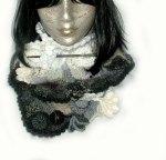 Black & white freeform scarf