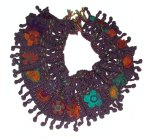 Silky Plum Freestyle Crochet Floral Scarf