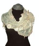 Le creme (3) freeform crochet/knit scarf