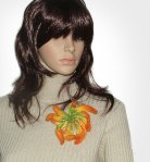 Curly Dahlia (1) crochet felt beaded brooch