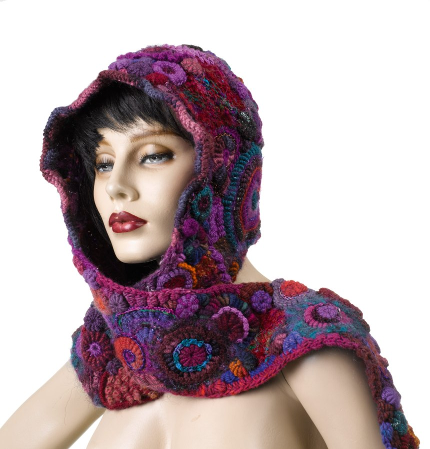 Free Knitting Pattern For Hat Scarf Combo : Combo Hooded Scarf (3) Renate Kirkpatricks Freeform Crochet~Knit~Fibre...