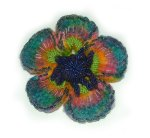 Crochet Felt Beaded Brooch - Blue Poppy