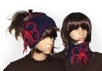 Royal Blue, Red Poppy Headband Ear warmer