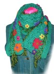 Silky Jade Freestyle Crochet Floral Scarf