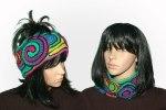 Rainbow Crayon freeform headband, cowl