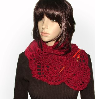 ruby red freeform lace scarf