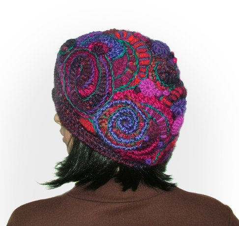 purple, magenta FF beanie back