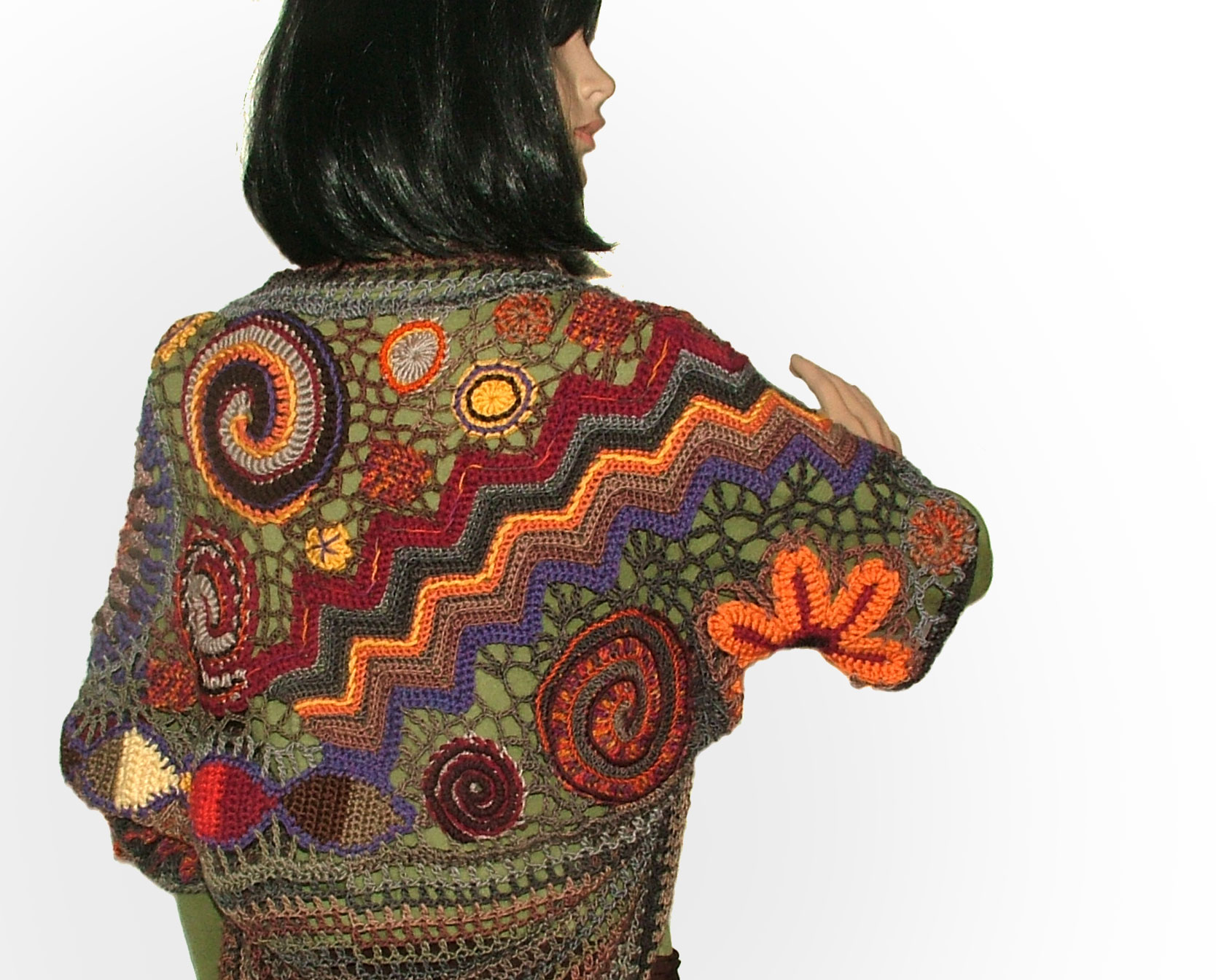 Noro shrug | Renate Kirkpatrick\'s Freeform Crochet~Knit~Fibre Designs