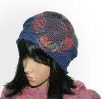 blue purple crochet felt hat