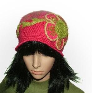 pink olive crochet felt hat