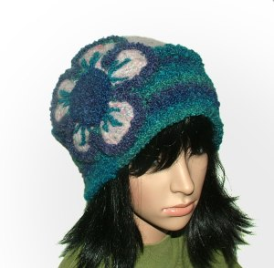 blue crochet felt hat