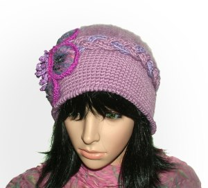 lilac crochet felt hat