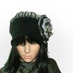 black & grey crochet felt hat
