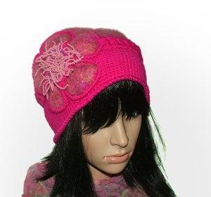 pink crochet felt hat