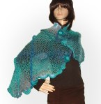 Blue/Turquoise Freeform shawl