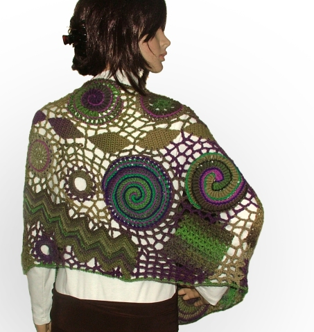 Freeform Crochet Spiral Scallop Shawl Wrap Scarf Renate