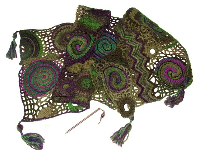 spiral, scallop shawl wrap