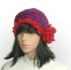 red flower beanie