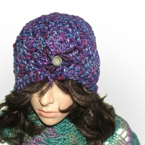 purple brooch beanie