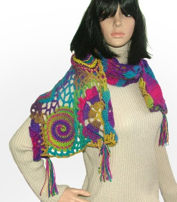 JUST WRAPS 30 Patterns KNIT and CROCHET Lion Brand PONCHOS~SHRUGS~STOLES~SCARVES