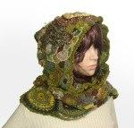 Freeform Crochet Hooded Scarf